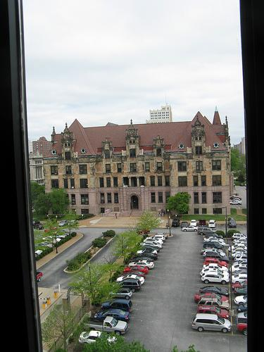 City Hall as seen from the headquarters of the St. Louis Police Department.