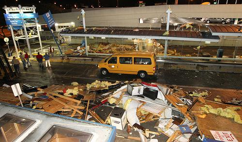 Damage to the passenger arrival area at Lambert-St. Louis International Airport following the April 22 tornado.