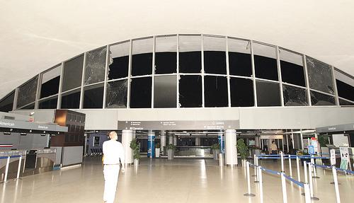 The storm blew out most of the windows on the east side of Lambert's main terminal.