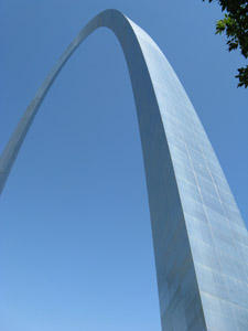 The Gateway Arch in downtown St. Louis.