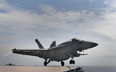 An F/A-18 Super Hornet from the Sunliners of Strike Fighter Squadron (VFA) 81 launches from the aircraft carrier USS Carl Vinson (CVN 70). Boeing, the maker of the F/A-18 Super Hornet, is now out of the running for a contract for the Indian air force.