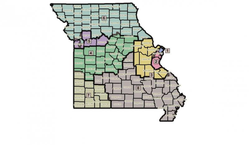 The redistricting map proposed by Mo. House Democrats.