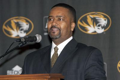 Frank Haith speaks to reporters after being introduced as the 17th head men's basketball coach at the University of Missouri in Columbia, Mo. on April 5, 2011.