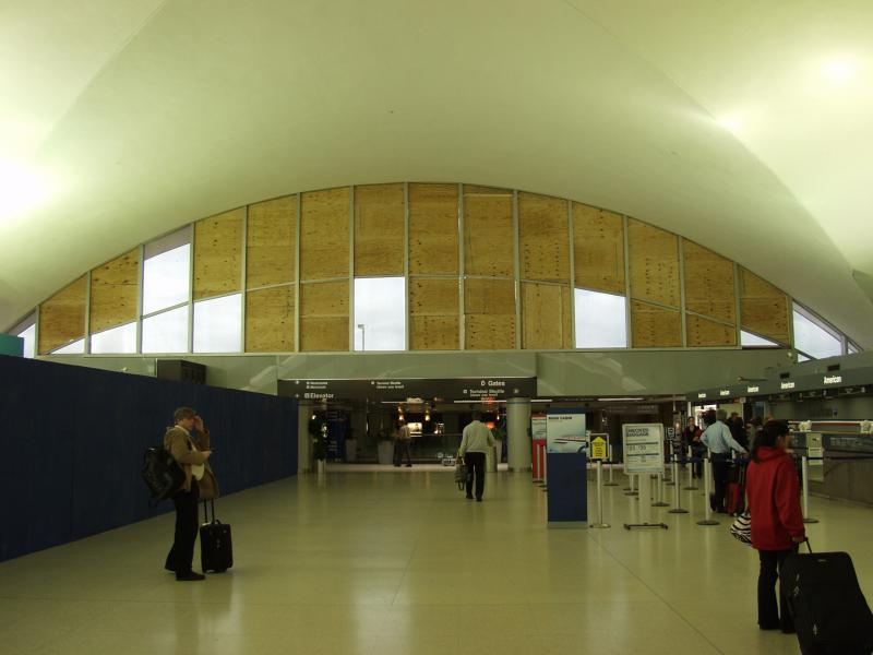 The inside of Lambert Airport in the midst of repair following Friday's storms.