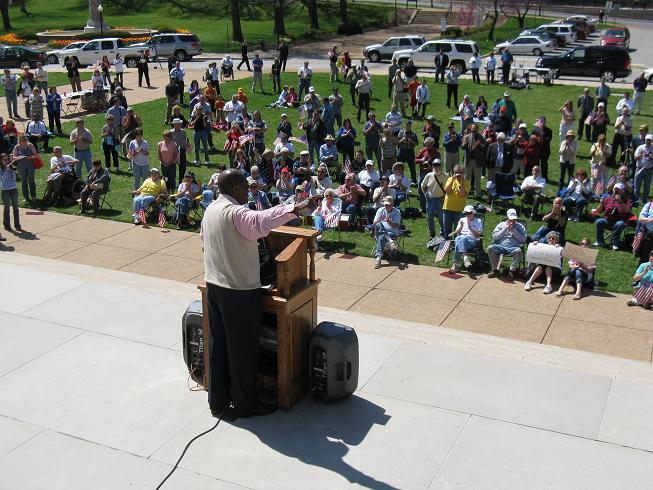 More than 150 people attended the rally on the South Lawn of the Mo. Capitol.