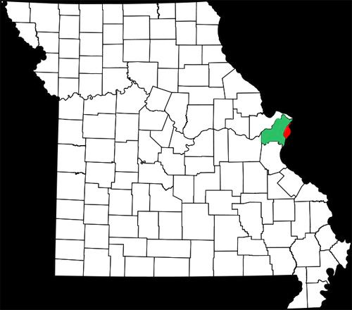 A map of the state of Missouri, with St. Louis City highlighted in red and St. Louis County in green.