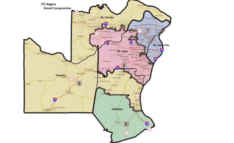 "This map shows how the St. Louis-area districts would look under the ""grand compromise."""