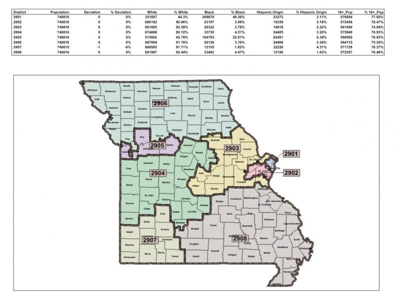 The GOP redistricting map passed by a Mo. Senate committee.  Both the Senate and House GOP proposed maps move three rural counties into the urban Kansas City congressional district.