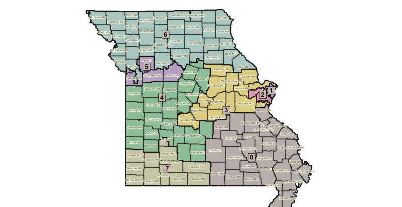 The congressional redistricting map preferred by the Mo. House.
