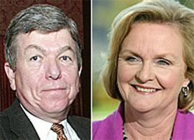 Missouri's U.S. senators, Republican Roy Blunt (L) and Democrat Claire McCaskill.