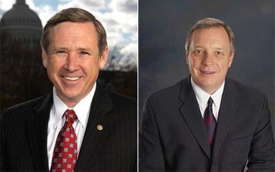 Illinois' two U.S. Senators, Republican Mark Kirk (l) and Democrat Dick Durbin.