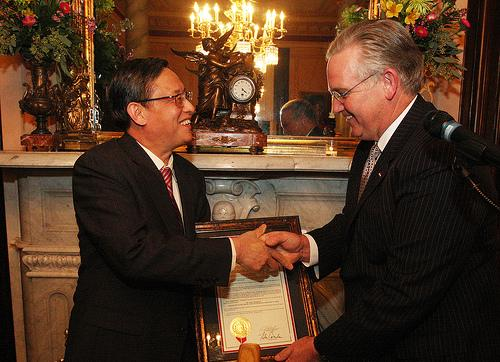 Gov. Jay Nixon (D) presents a proclamation to China's Ambassador to the United States Zhou Wenzhong, in February.  The governor says he's confident that tax breaks to benefit a proposed China hub will clear the General Assembly this session