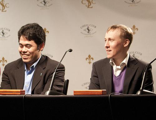 Hikaru Nakamura (L) has a chance to become the highest-rated American chess player during a week-long match against Ukrainian Ruslan Ponomariov (R). The 10-game contest is the first international match for the Chess Club and Scholastic Center of St. Louis