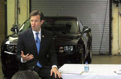 """Rep. Russ Carnahan, D-St. Louis speaking to reporters today at a """"Made in America"""" forum in St. Louis. Carnahan said he's still undecided about his Election 2012 plans."""