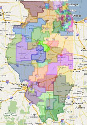 A screen capture of the proposed redistricting map from the Illinois House of Representatives via Google Maps. (See a link to the full map in the story below). This map passed through a Ill. House committee today.