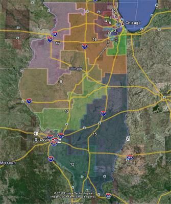 A screen capture via Google Earth of the proposed Congressional redistricting map from Illinois Democrats.