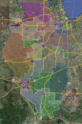A screen capture of the proposed redistricting map from the Illinois Senate via Google Earth. (See a link to the full map in the story below).