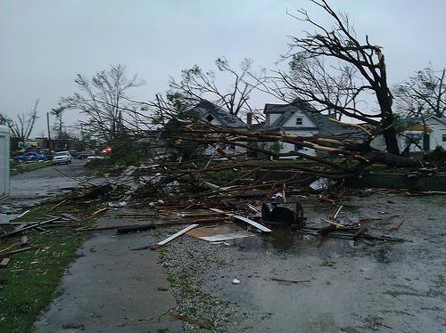 The scene today near 23rd and Main St. in Joplin, Mo. following last night's tornado.