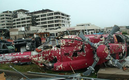 The helicopter at Saint Johns Hospital lies destroyed outside of the Emergency Department in Joplin, Mo. on May 23.