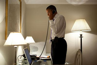 President Barack Obama talks on the phone with Mo. Gov. Jay Nixon, during Obama's visit to Dublin May 23. The President and Gov. Nixon discussed the deadly tornado that touched down in Joplin, Mo., Sunday night. Obama will visit Joplin May 29.