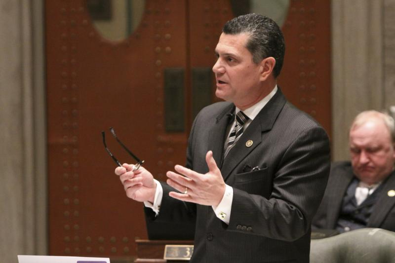 State Sen. Jim Lembke (R, Lemay), debating on the Senate floor back in March. Lembke was one of four senators who blocked a capital improvements bill in an attempt to reject $41 million in federal stimulus funds.