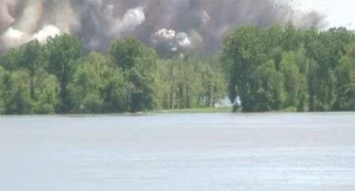 A screen grab still frame of a video by the U.S. Army Corps of Engineers of the second intentional levee blast near New Madrid, Mo. on May 3.