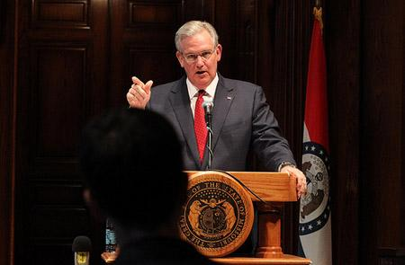 Missouri Governor Jay Nixon briefs reporters on various subjects after the end of the 96th General Assembly at the State Capitol in Jefferson City on May 13, 2011.