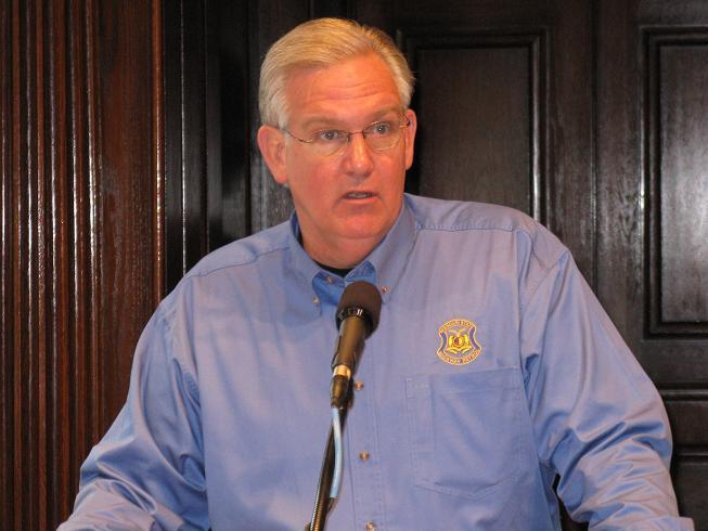 Mo. Gov. Jay Nixon at a press conference on May 27 when he announced that $25 million will be set aside in next year's state budget to help pay for damage following the tornado in Joplin on May 22.
