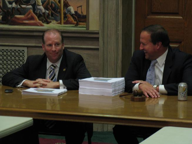 (l-r) State Senator Scott Rupp (R, Wentzville) and State Rep. John Diehl (R, Town and Country) during a redistricting meeting last month.  None of the House or Senate redistricting committee members have so far announced any plans to run for Congress.