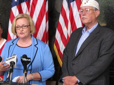 U.S. Senator Claire McCaskill speaks to the media on Friday, May 27. To her left is veteran George Newell.