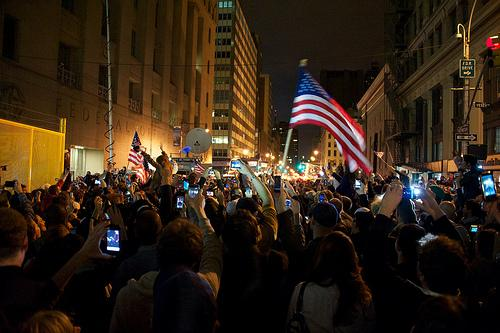 People gather at Ground Zero in New York, NY. Sunday night to celebrate the death of Osama bin Laden.