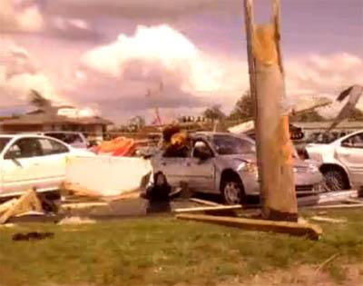 A video screen capture of damage sustained in Sedalia, Mo. from a tornado that ripped through the area Wednesday afternoon. Injuries were reported but no one was killed.