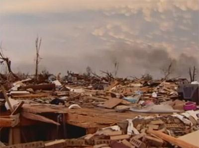 A screen capture of a video taken of the destruction following a tornado in Joplin, Mo. Dozens of fatalities resulting from the storm have already been confirmed in the area.
