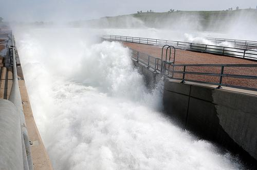 Water surges from the open gates of the Oahe Stilling basin, located just north of Pierre, S.D. on June 5. U.S. Sen. Roy Blunt is worried about the number of levees that could be overtopped as the flood rushes downstream.