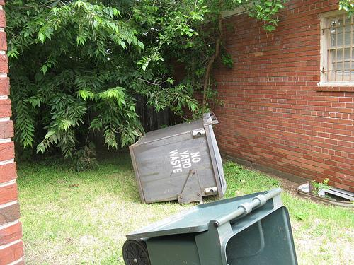 The force of the water dragged the yard waste container from the alley into Annie Anderson's side yard.