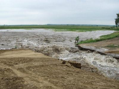 A view of a levee break in Atchison County, Mo. off of the Missouri River on June 13.