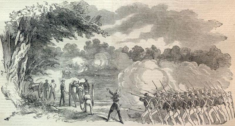 The Battle of Boonville, Missouri, sketched by Orlando C. Richardson. A reenactment will take place this weekend, on the 150th anniversary of the battle.