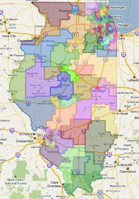 A screen capture of the redistricting map from the Illinois House of Representatives via Google Maps. (See a link to the full map in the story below). This map was approved by Ill. Gov. Pat Quinn today.