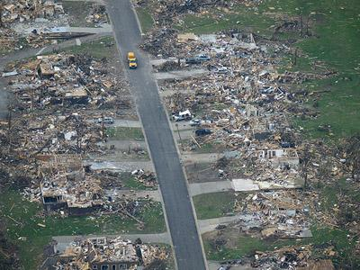 An aerial view of Joplin, Mo. on June 1, 2011, 10 days after an EF-5 tornado swept through the area. The EPA announced today that the city will receive an additional $2.4 million to clean up contaminated soil disturbed by the twister.