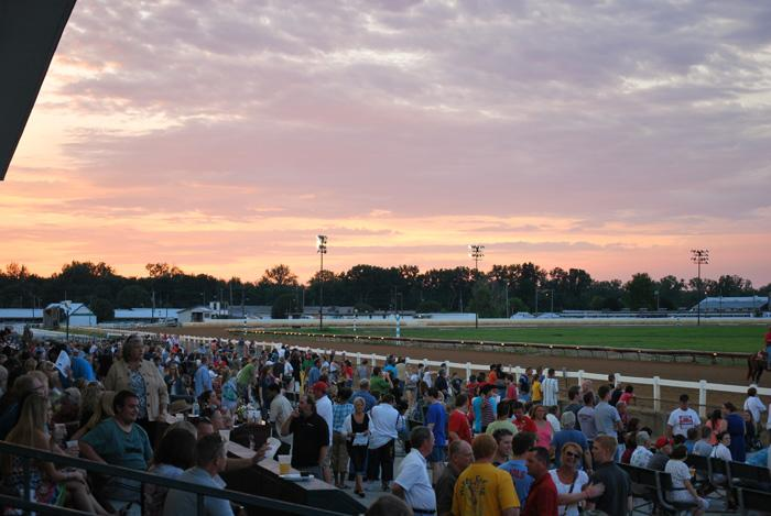 The crowd waits for the next race at Fairmount Park Racetrack on a recent Friday night. Lanny Brooks with the Illinois Horsemen's Benevolent and Protection Association says the fan base has remained strong.