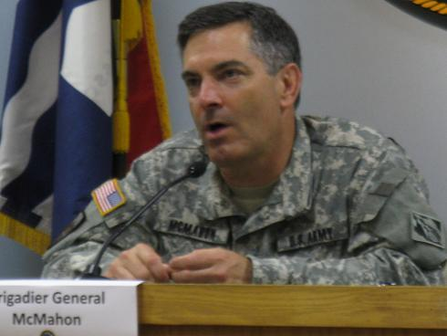 Brigadier Gen. John McMahon of the U.S. Army Corps of Engineers, at a meeting in Jefferson City.