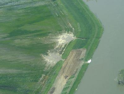 An aerial photo, taken June 6, of an earlier partial breach in a levee in Atchison County, Mo. Another partial breach was reported June 9 approximately 80 feet north of two previous breaches. Another breach has been reported today.