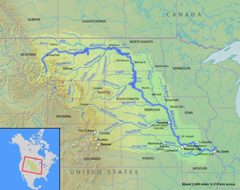 A map of the path of the Missouri River.