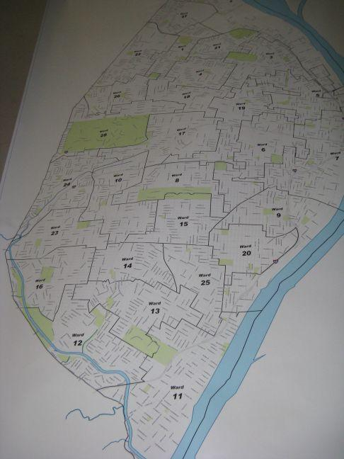 A photo of the proposed new wards in the city. The map cleared its first hurdle on Thursday, getting unanimous committee approval.