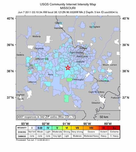 A light earthquake was felt this morning in St. Louis. The 4.2 magnitude temblor was centered about 14 miles east of Sullivan.