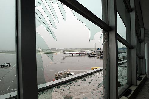 A better idea of damage done at Lambert-St. Louis International Airport can be seen as daylight arrives in St. Louis on April 23. The airport was closed after a tornado hit the airport on April 22. The damage could take up to a year to fully repair.