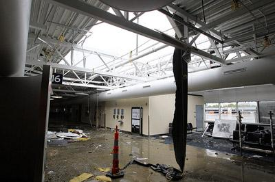 Tornado damage to the C concourse was extensive at Lambert-St. Louis International Airport in St. Louis, pictured here on April 23, 2011, one day after a tornado swept through the area.