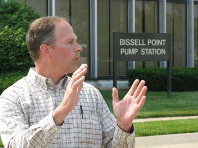 Brett Berthold, the manager of the MSD Bissell Point Wastewater Treatment Plant in north St. Louis, gives reporters a tour of the facility Friday.