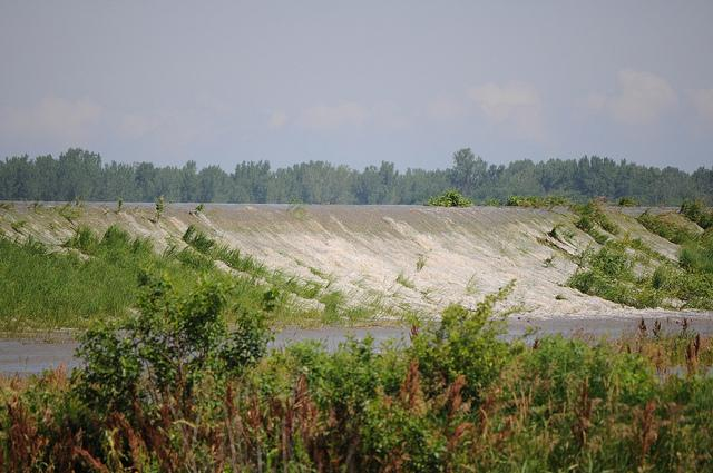 Water from the Missouri River overtops a levee in Atchison County, Mo., on June 19.