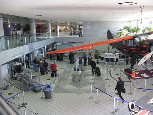 Passengers line up to move through security in Lambert's Terminal 1.